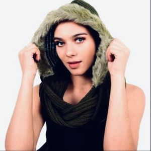 Guess hooded infinity scarf with faux fur trim